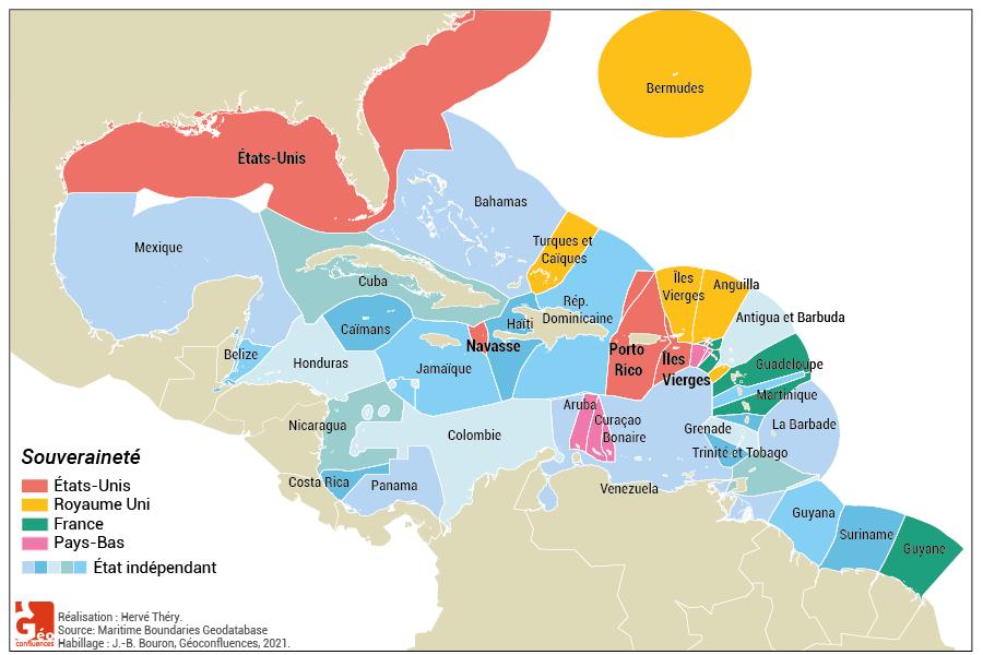 ZEE carte zones économiques exclusives antilles bassin caraïbe amérique centrale