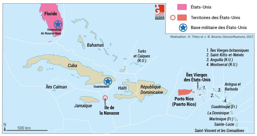 carte territoires ultramarins des états-unis caraïbes