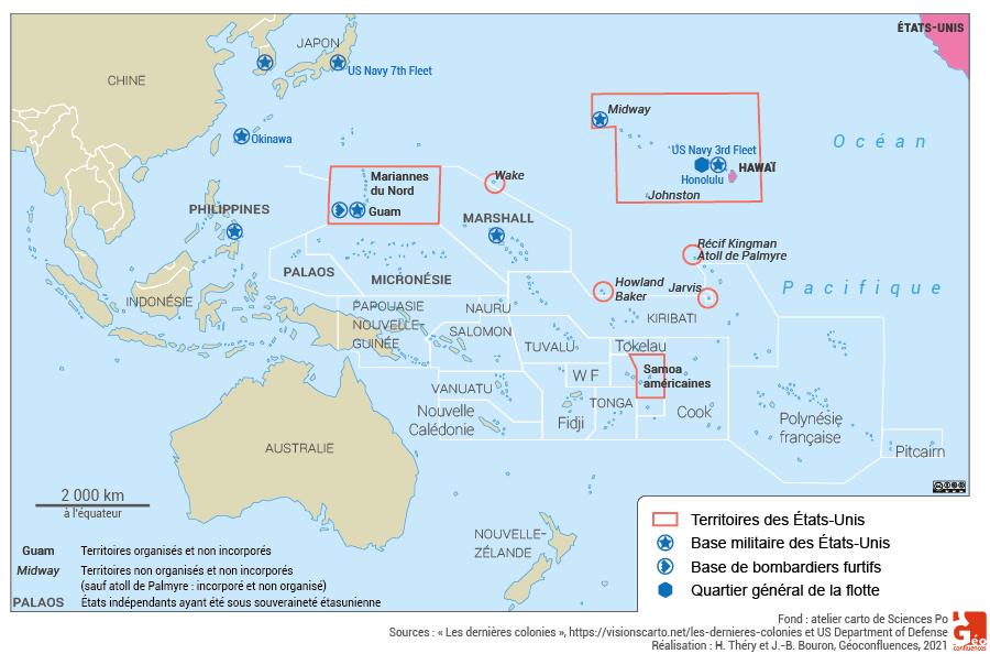 carte territoires ultramarins des états-unis pacifique