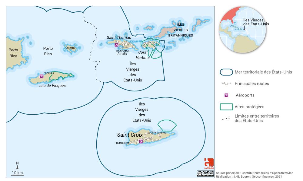 Virgin Islands map — carte des îles vierges américaines