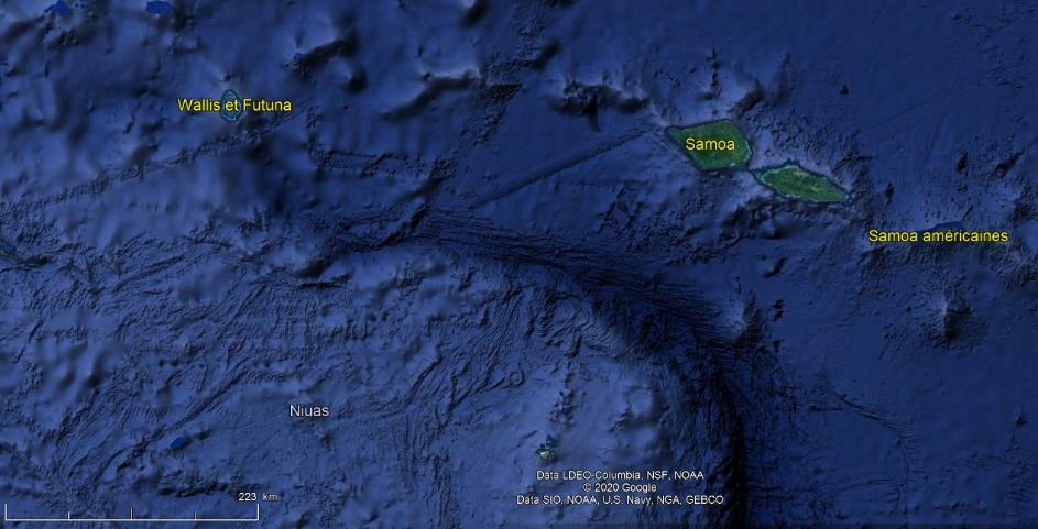 image satellite Samoa américaines