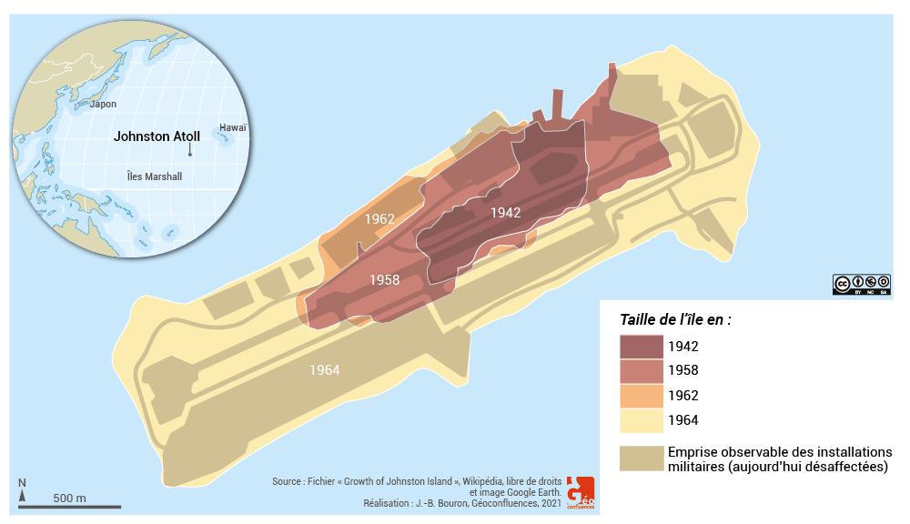 base militaire et agrandissement de l'île Kalama - Johnston atoll growth and military base