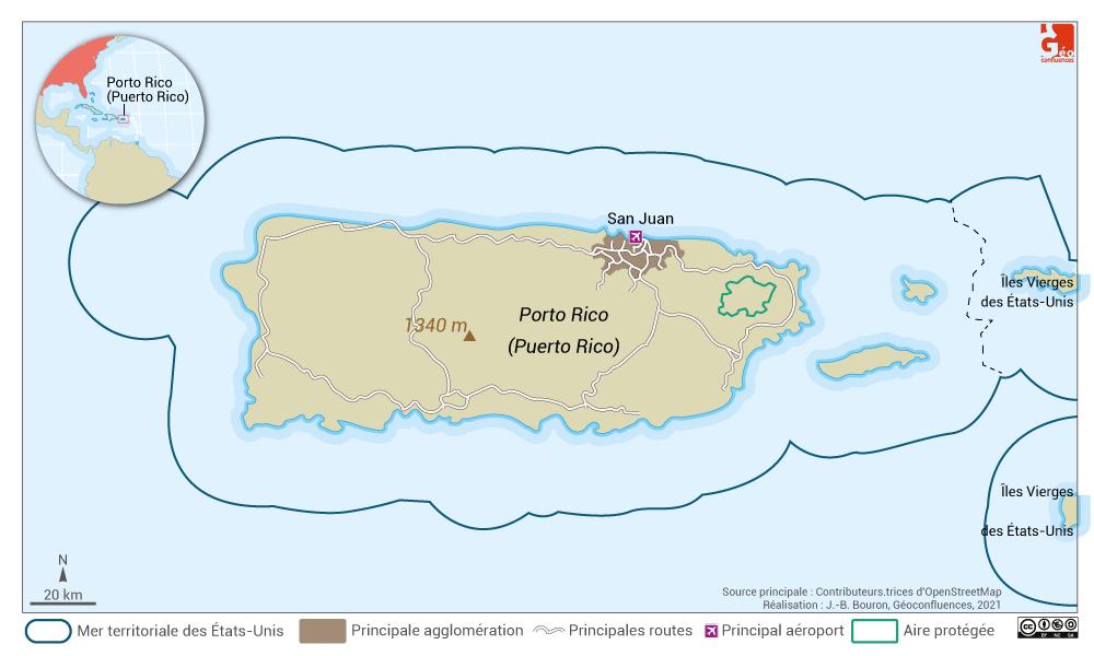 Puerto Rico map — carte de Porto Rico