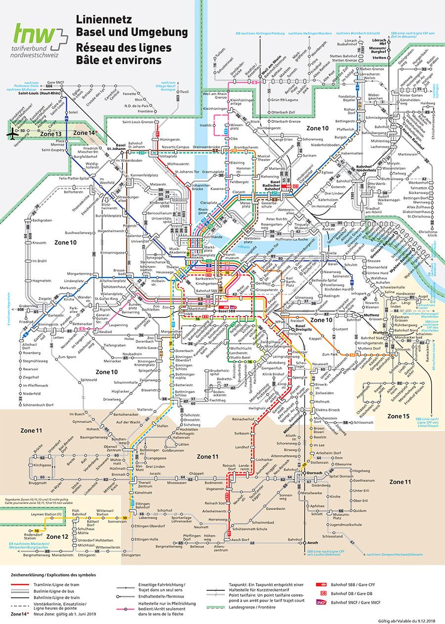 Agglomération de Bâle plan des transports