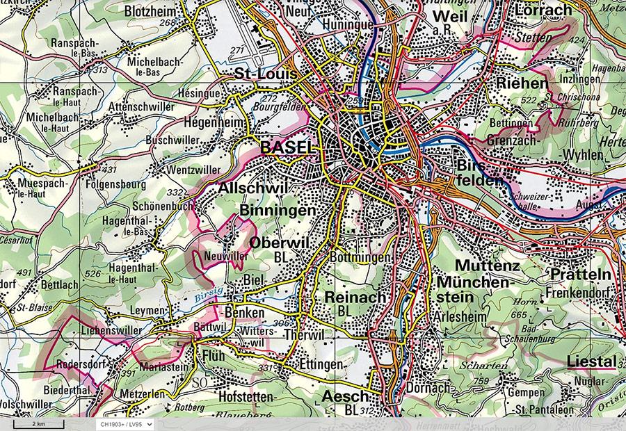 Agglomération de Bâle carte topographique