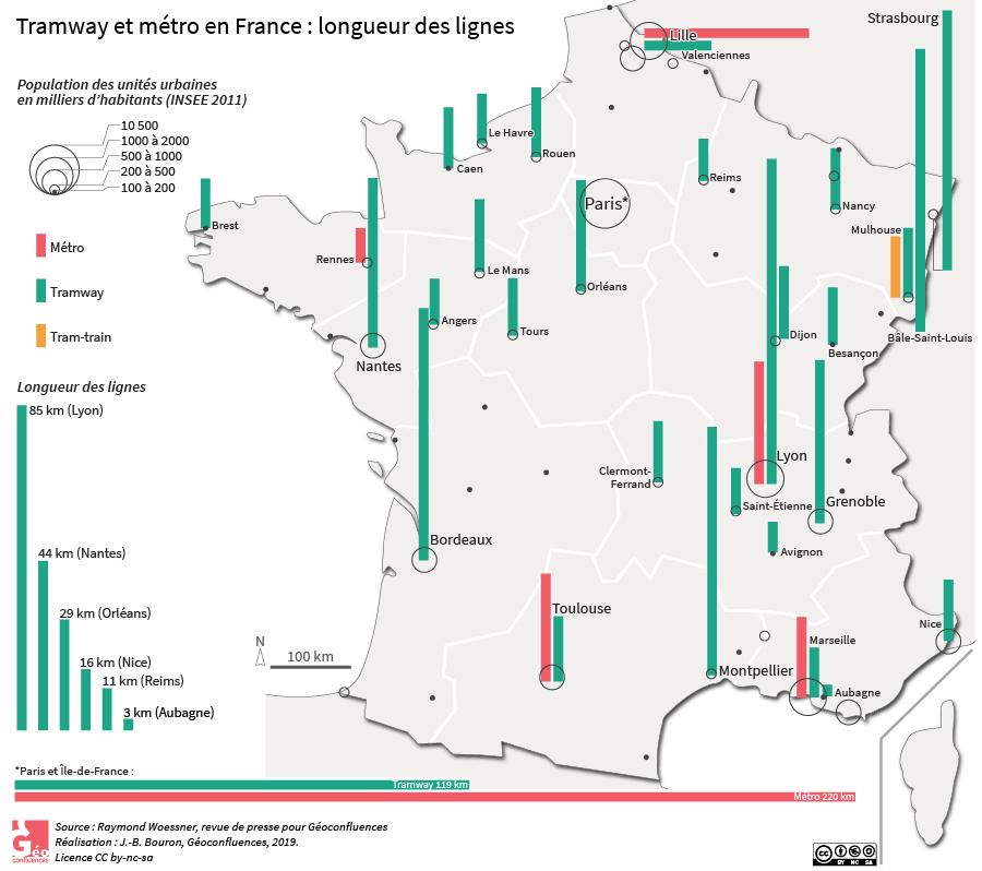 carte des tramways et métro en France par ville avec longueur du réseau