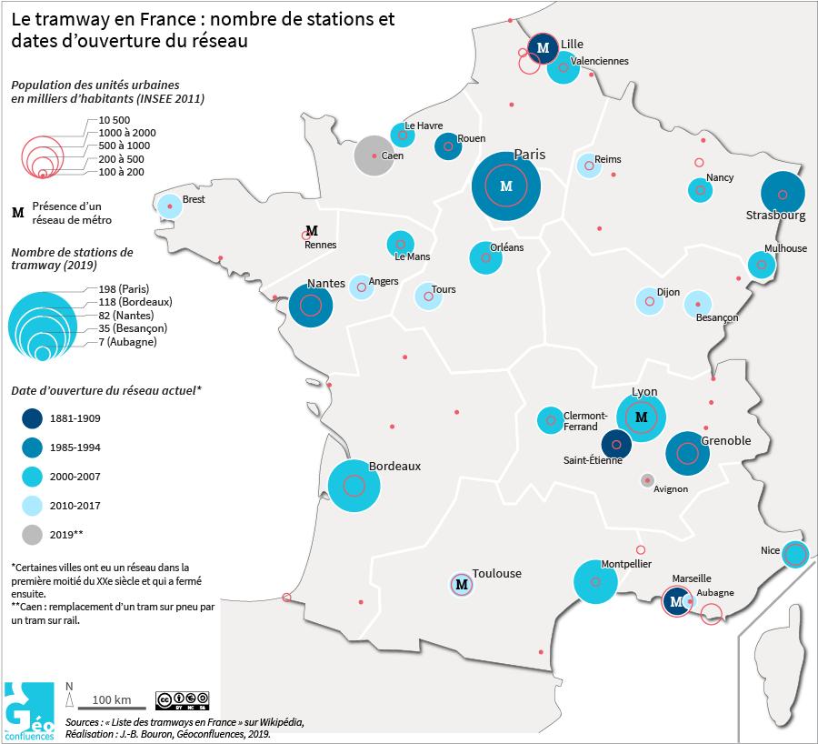 carte des tramways en France par ville avec date et nombre de stations