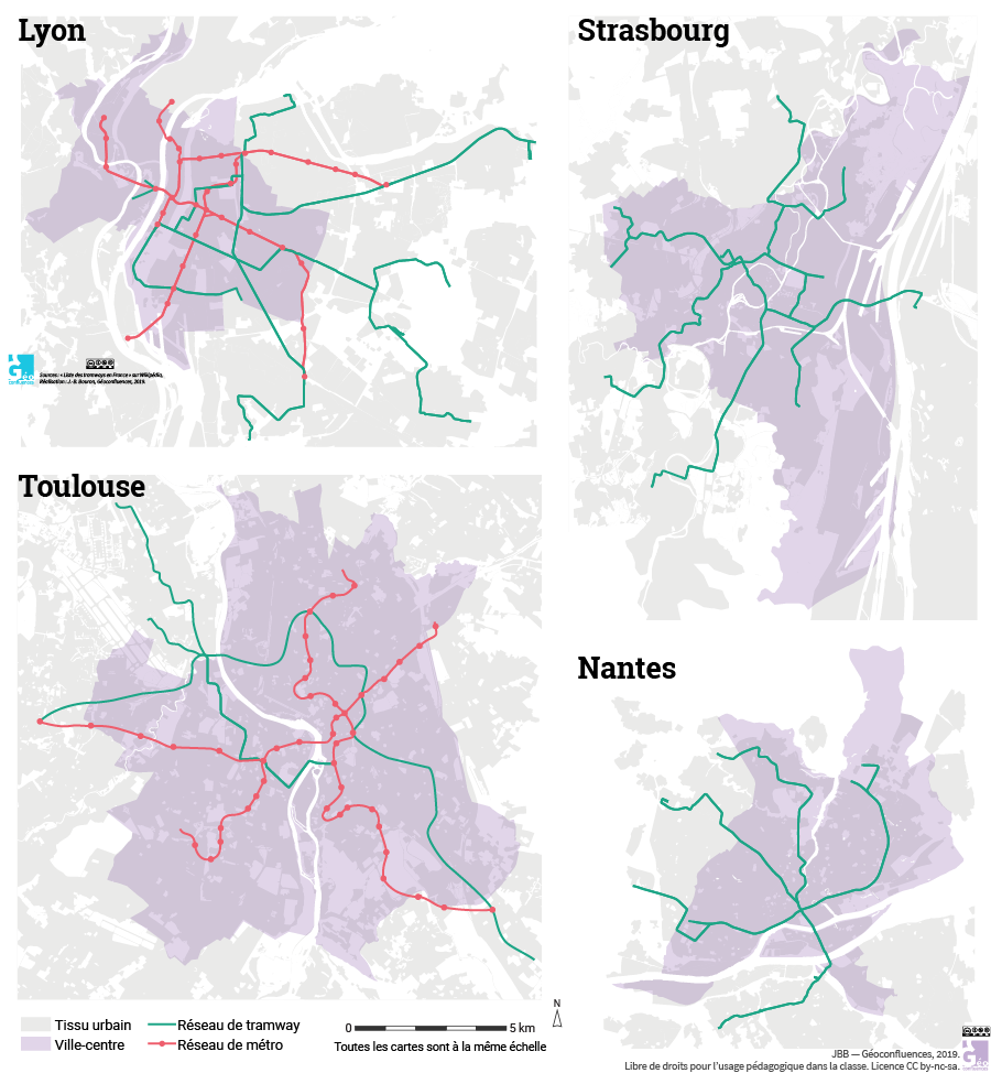 carte du réseau métro et tramway Lyon Strasbourg Toulouse Nantes