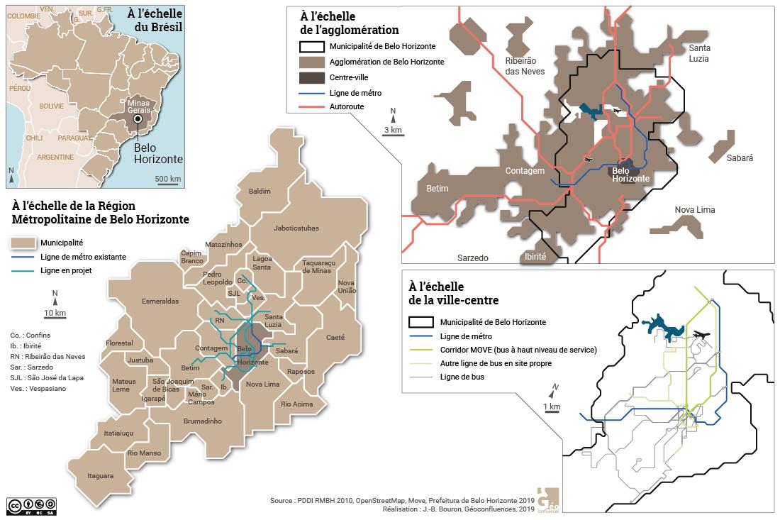 transports en commun et autoroutes à Belo Horizonte