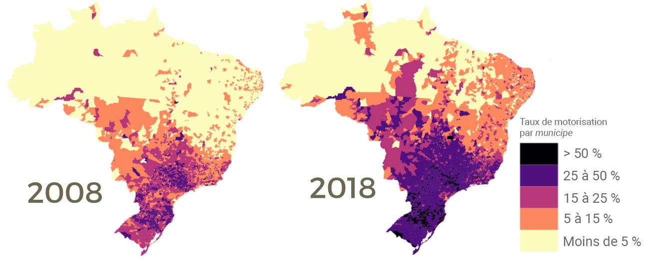 évolution du taux de motorisation au Brésil cartes