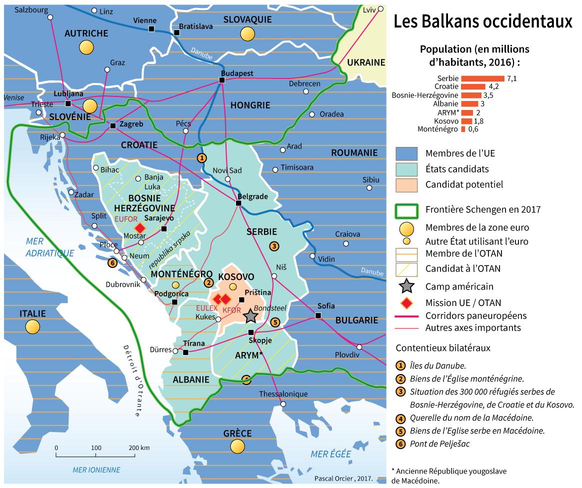 Carte : Les Balkans occidentaux et l'adhésion à l'Union Européenne