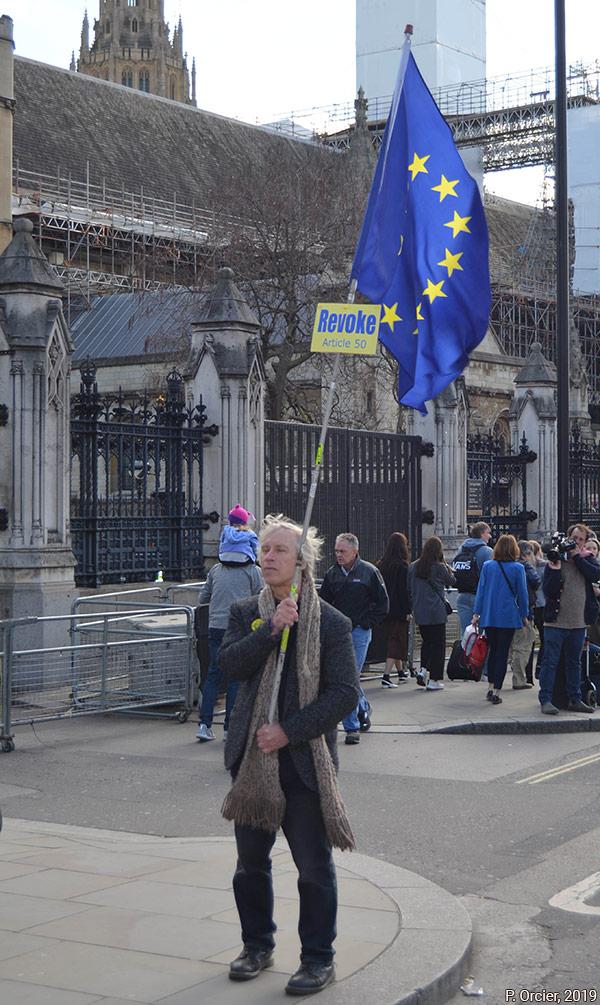 Militant anti-Brexit à Londres