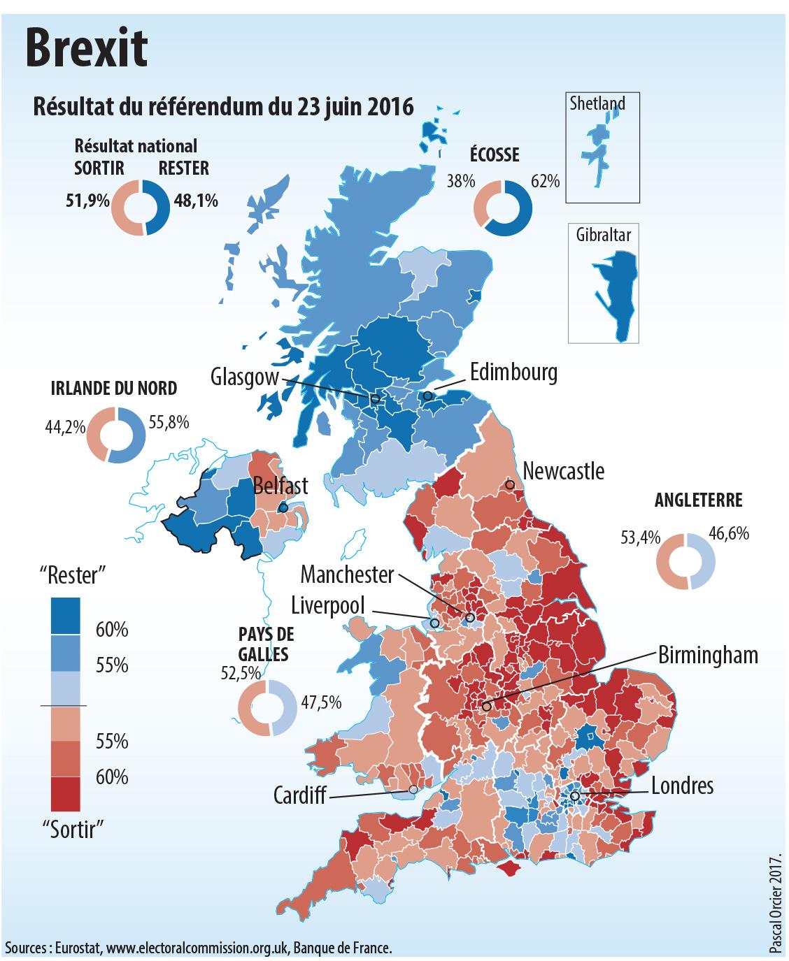 Brexit carte du référendum de 2016