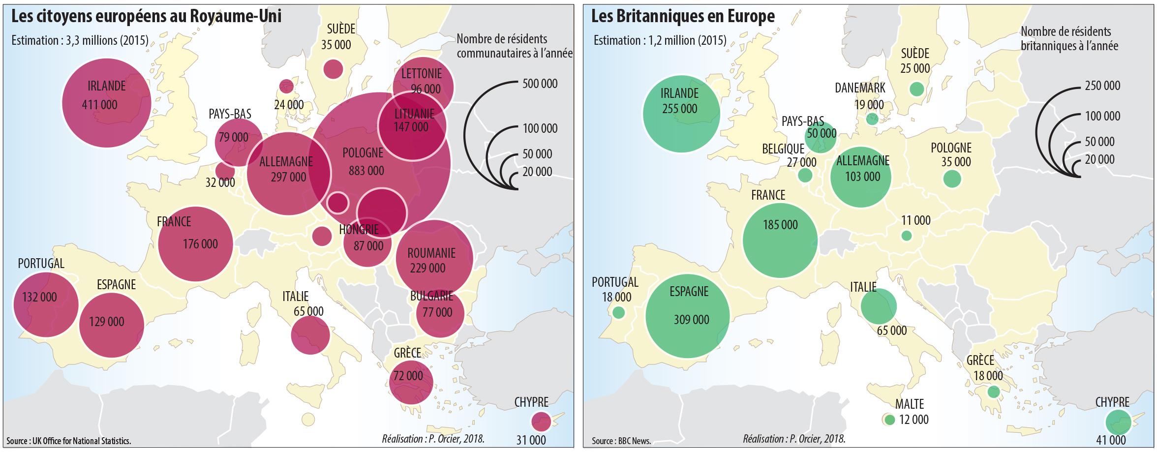 Pascal Orcier — Carte : Les citoyens du RU dans l'UE et de l'UE dans le RU