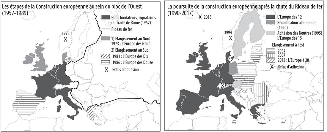 Pascal Orcier carte adhésion des pays construction européenne élargissements 1957-2017