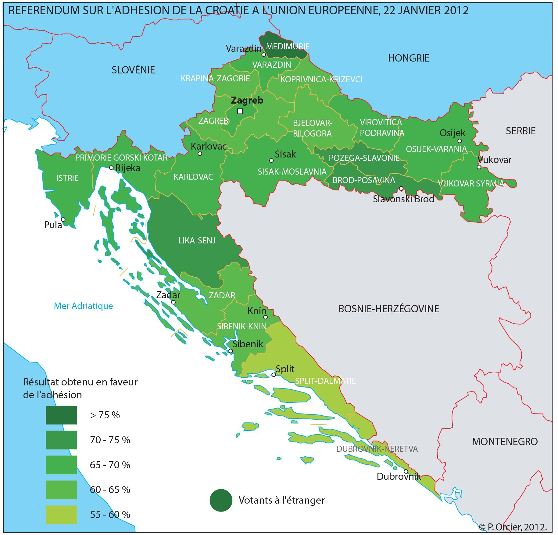 Référendum d'adhésion à l'Union Européenne en Croatie CARTE