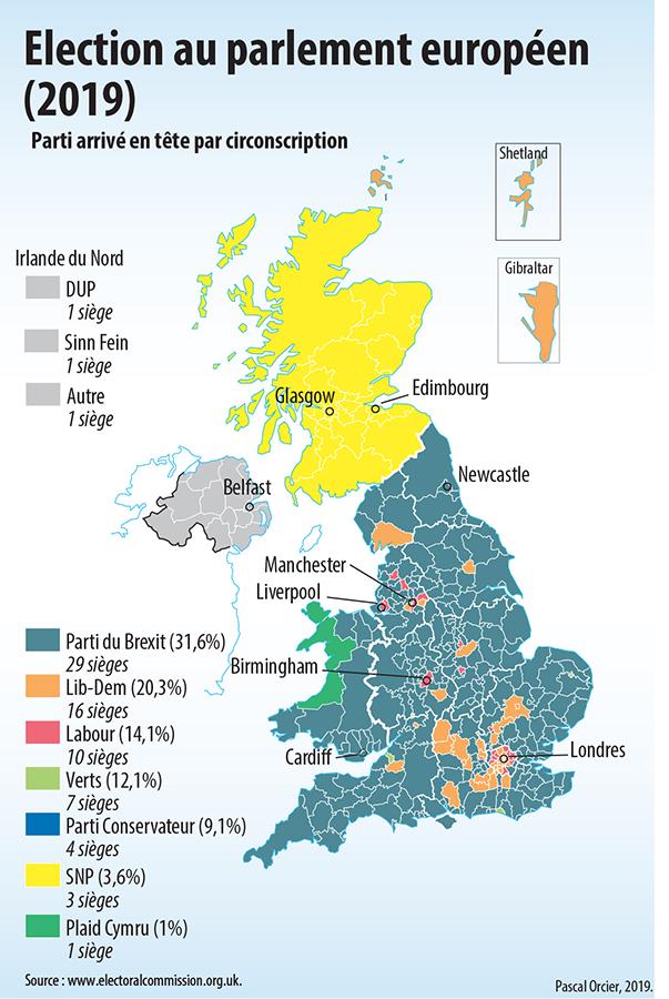 Brexit carte des résultats aux élections européennes de 2019 Royaume-Uni