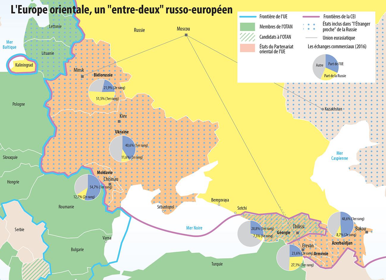 """L'Europe orientale, un """"entre-deux"""" russo-européen, carte de Pascal Orcier"""