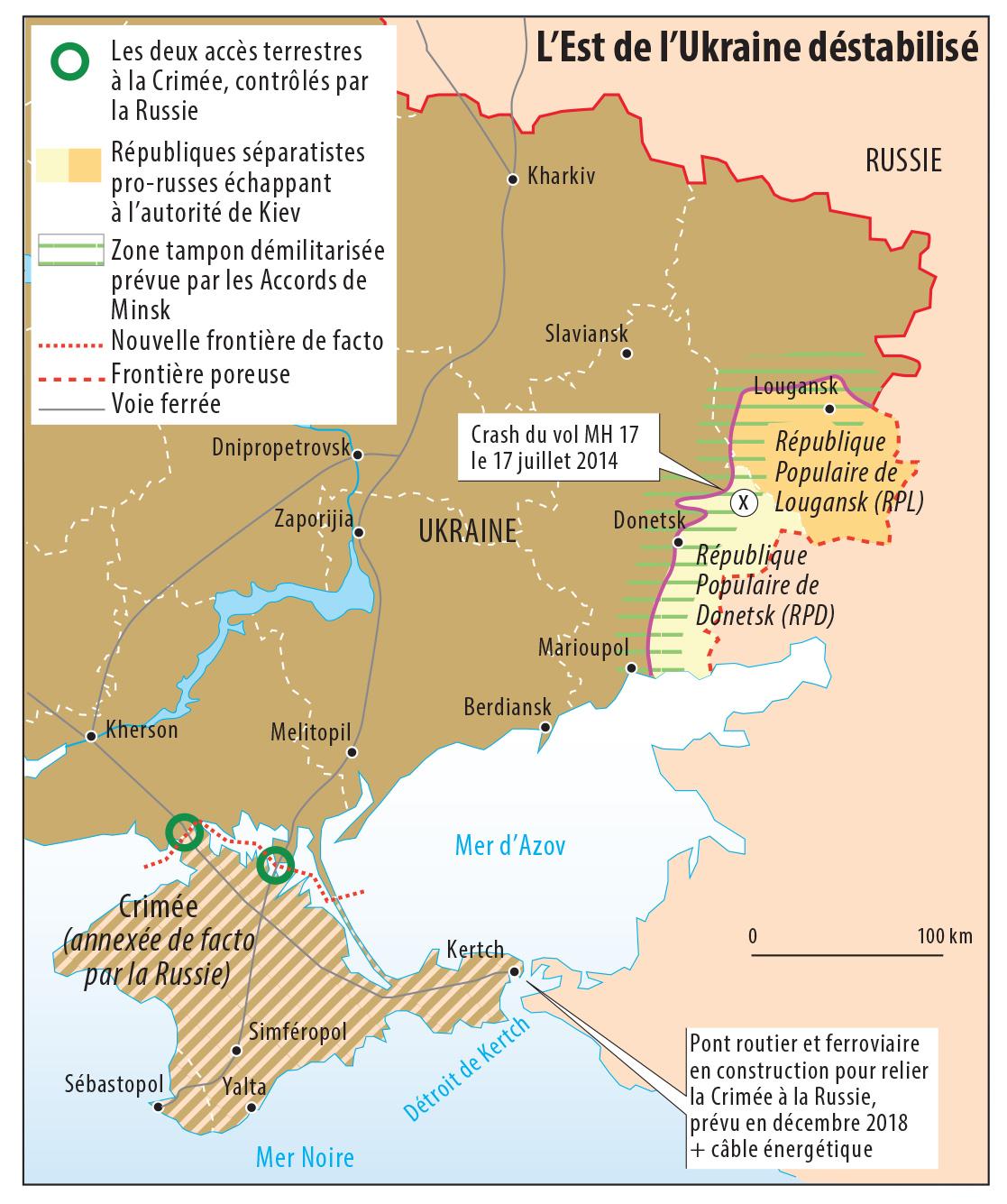 Carte est de l'ukraine destabilisé par la Russie