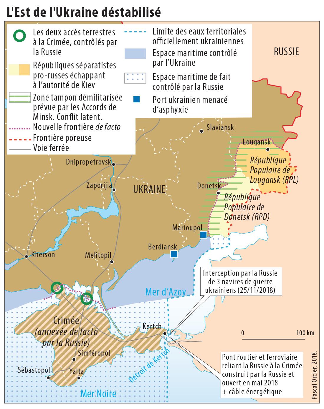 Pascal Orcier — Carte est de l'ukraine destabilisé par la Russie