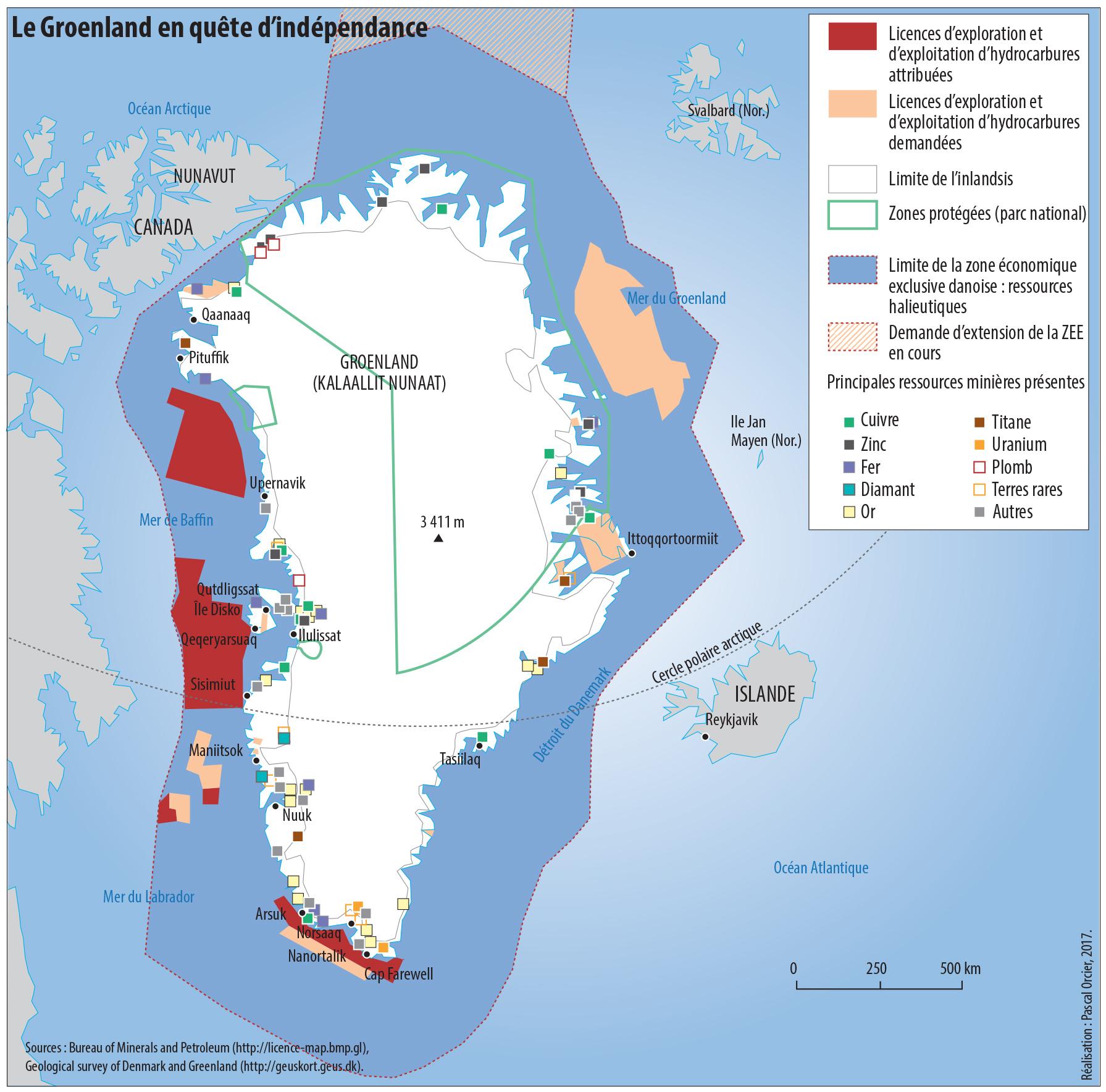 Carte le Groenland en quête d'indépendance