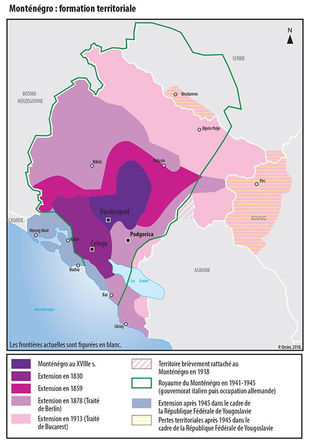Carte Monténégro formation territoriale