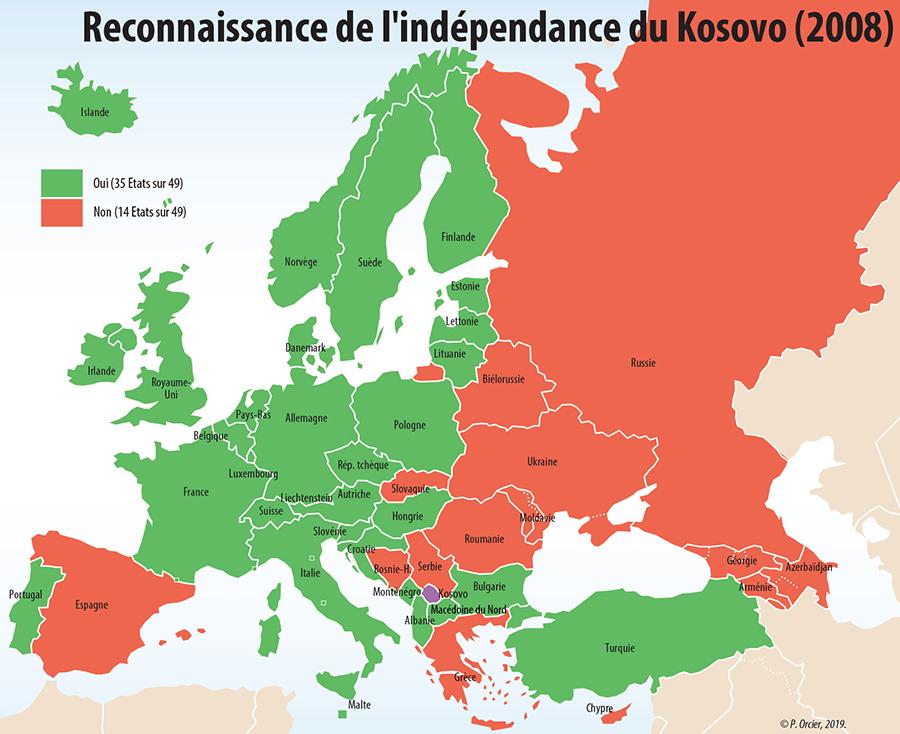 Carte reconnaissance du Kosovo en Europe