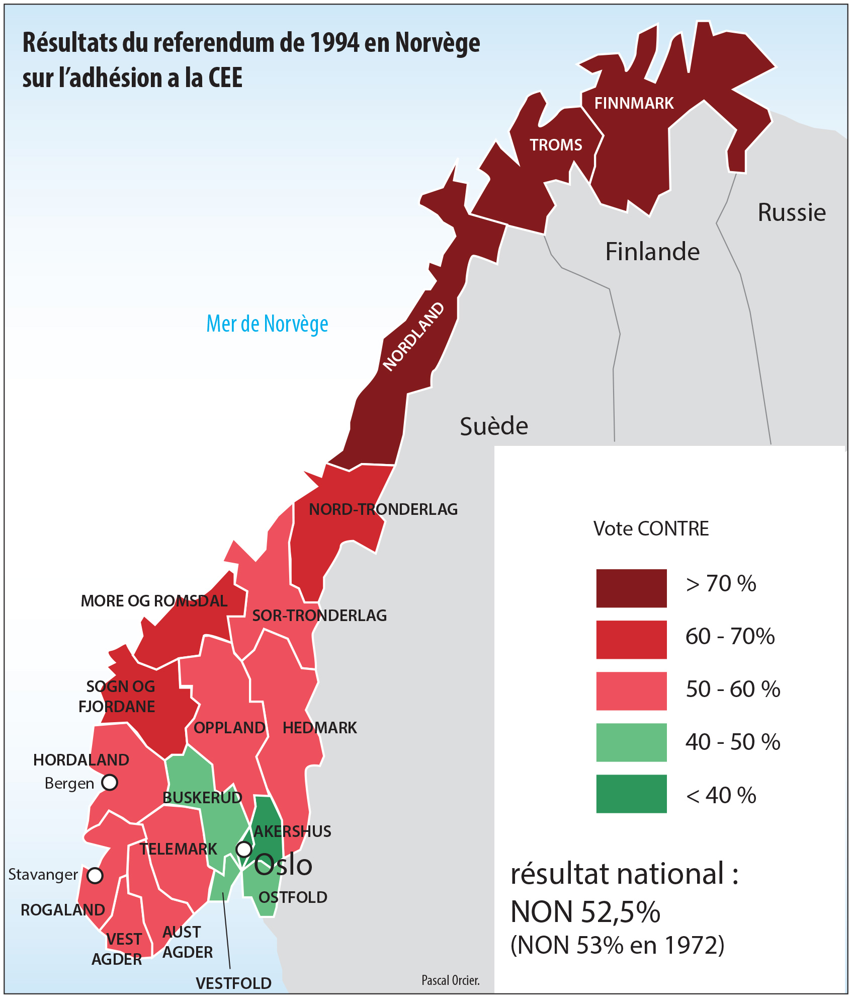 carte des résultats du référendum en Norvège 1994 adhésion CEE