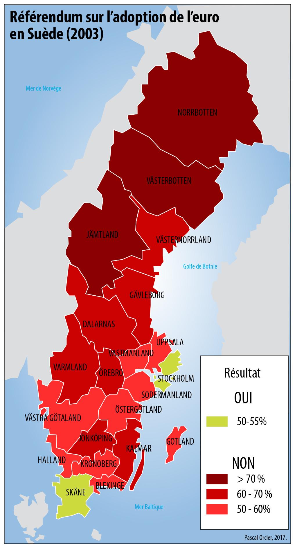 référendum sur l'adhésion de l'euro en Suède Carte 2003
