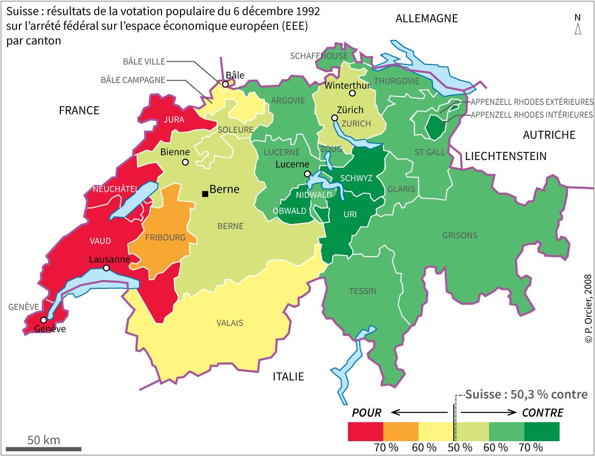 carte des résultats du référendum en Suisse 1992