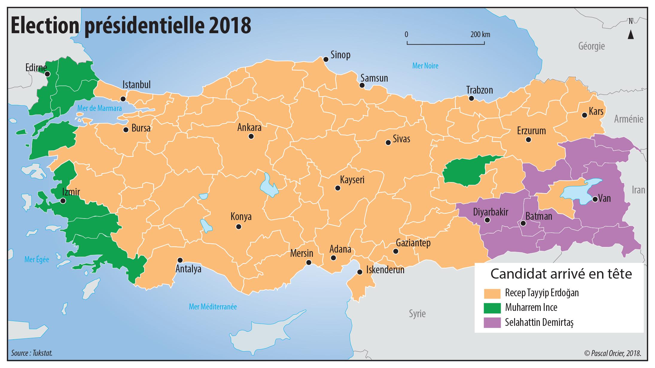 Pascal Orcier — élection 2018 en Turquie carte
