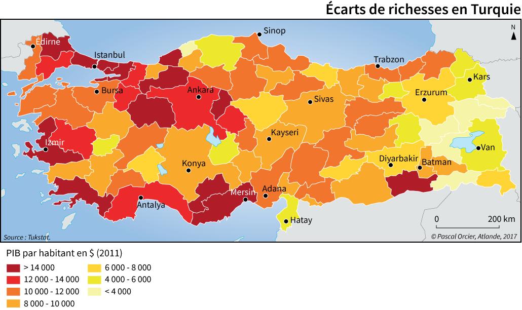 inégalités de revenus en Turquie carte Pascal Orcier