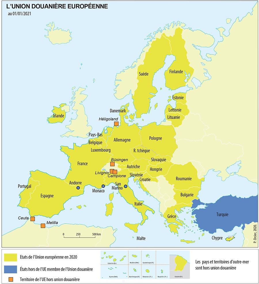 L'Union Douanière Européenne carte