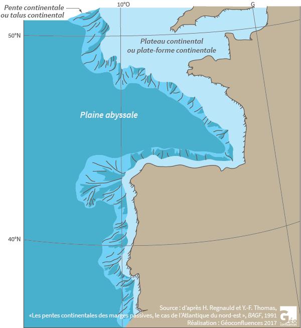 plateau ou plate forme continentale Atlantique pente ou talus continental