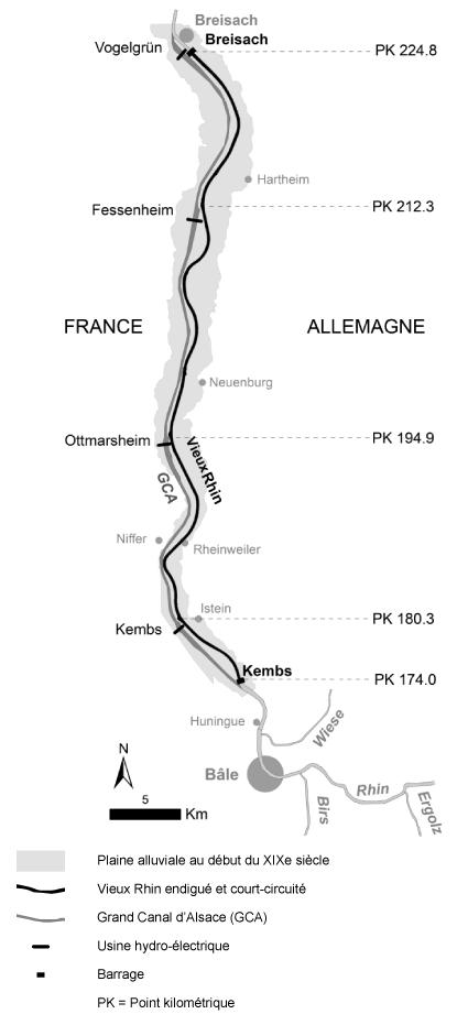 Fanny Arnaud et Laurent Schmitt — Carte Rhin localisation du segment étudié