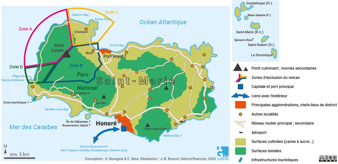 Carte de Saint-Marie, Antilles britanniques