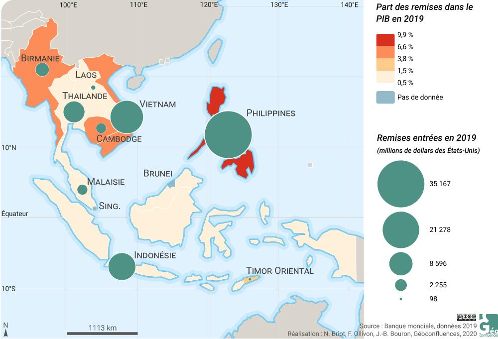 Ninon Briot et Franck Ollivon - carte Asie du Sud Est remises remesas rémitances