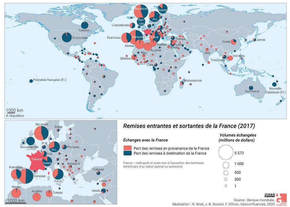 Ninon Briot et Franck Ollivon - carte France planisphère remises remesas rémitances
