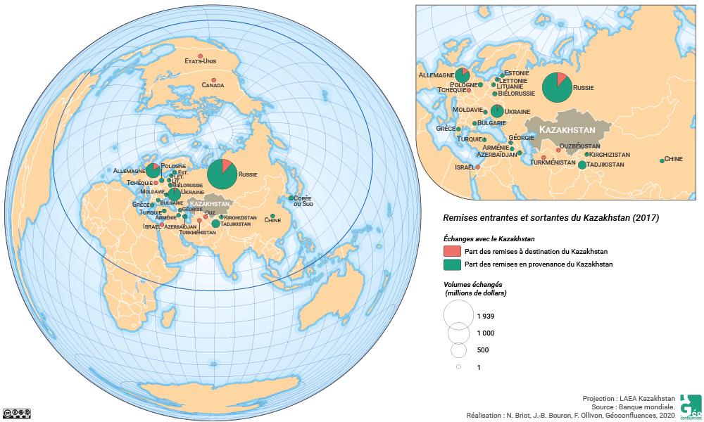Ninon Briot et Franck Ollivon - carte Kazakhstan planisphère remises remesas rémitances