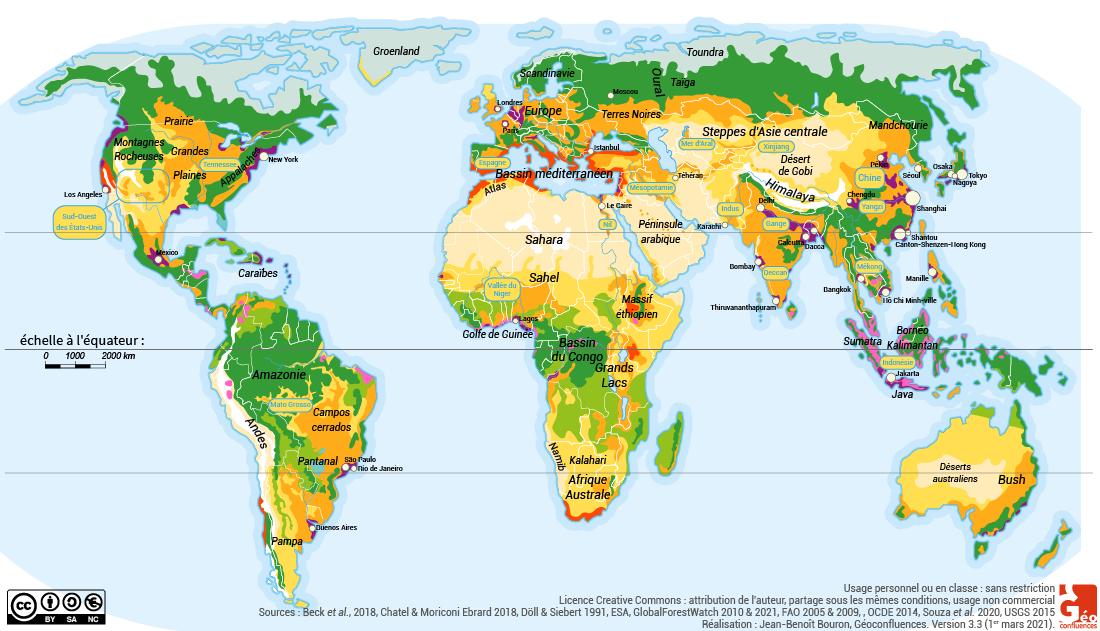 Planisphère carte agriculture dans le monde systèmes agraires