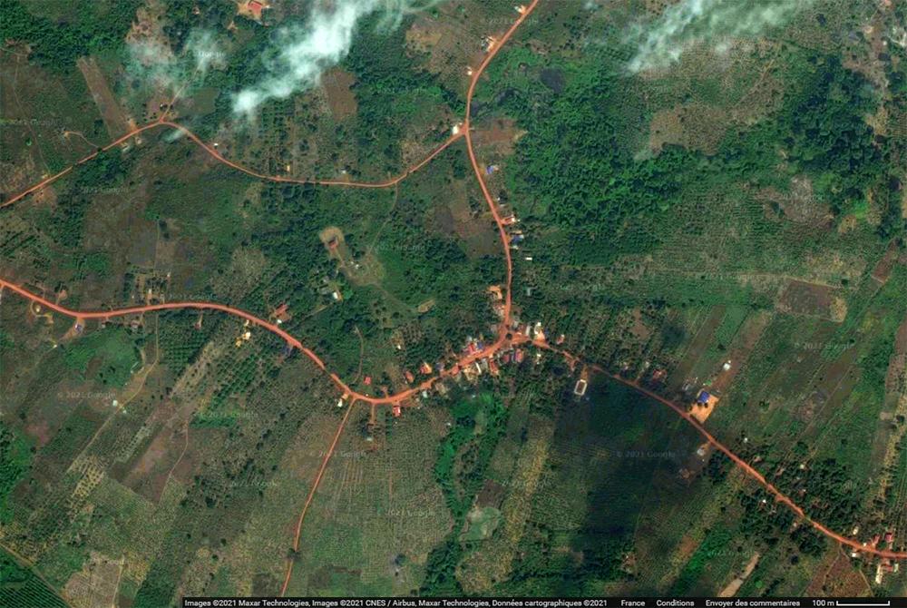 clairière de culture et brûlis forêt cambodge