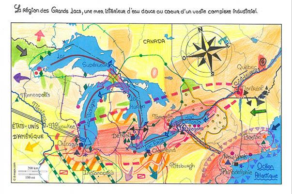 Grands lacs dans la mondialisation carte