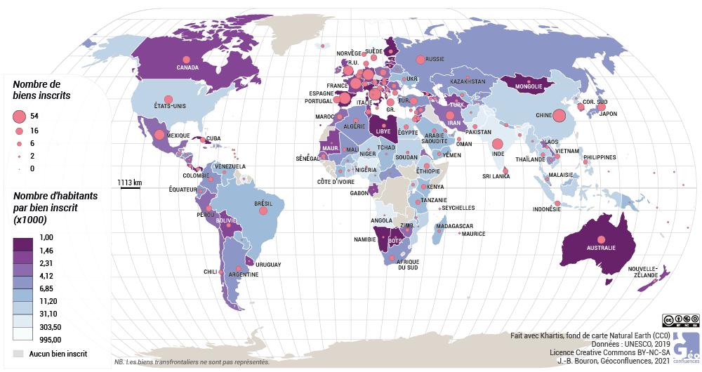 Jean-Benoît Bouron — Carte du patrimoine mondial de l'UNESCO par pays planisphère