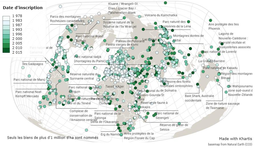 Jean-Benoît Bouron — Carte du patrimoine mondial de l'UNESCO par date d'inscription planisphère