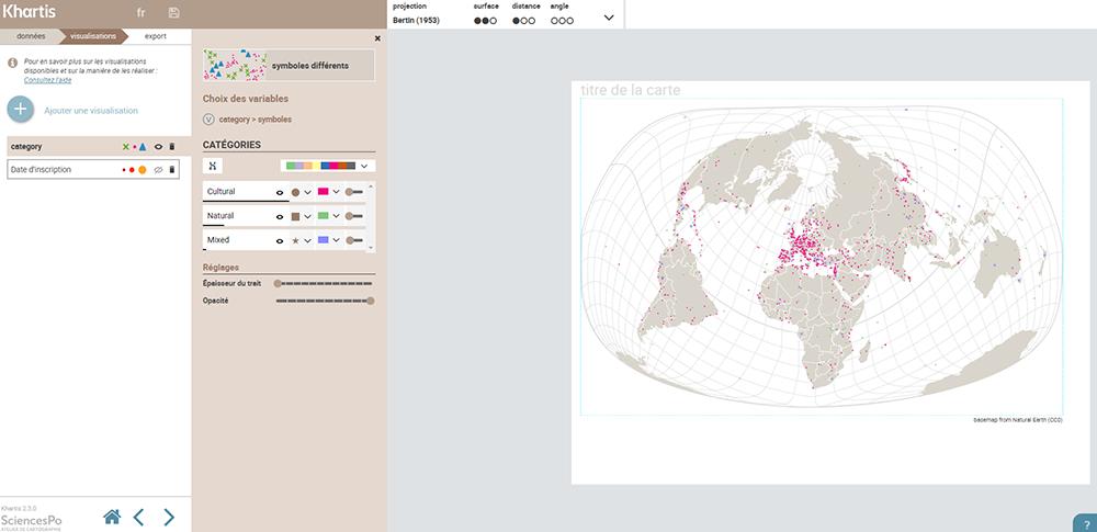 Khartis — monde biens inscrits UNESCO 2015 carte planisphère par type de bien