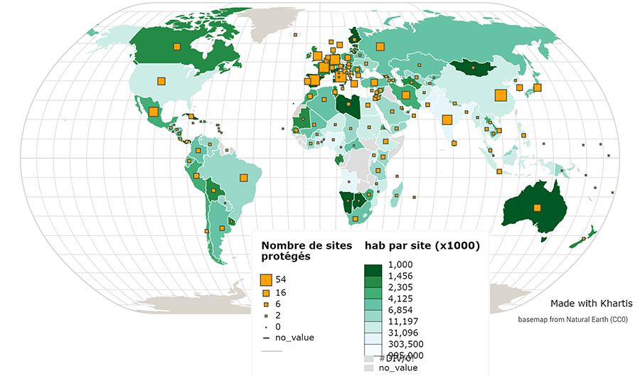 JB Bouron — Nombre d'habitants par bien classé UNESCO planisphère