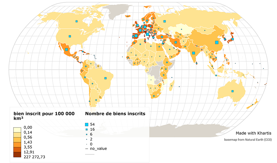 JB Bouron — Nombre de biens classés UNESCO par km² planisphère