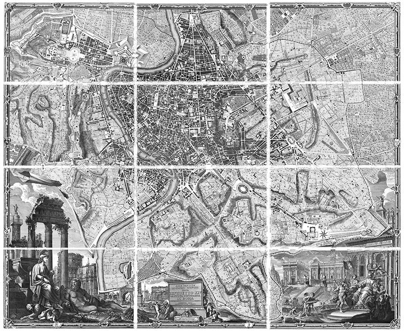 Giambattista Nolli, La Nuova Topografia di Roma, eau-forte, 1748, 176x208 cm.
