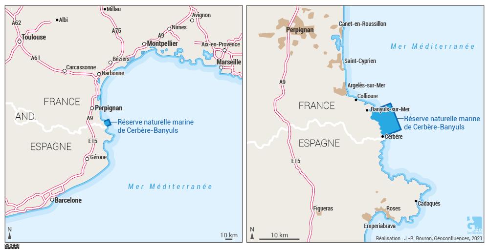 Localisation de la réserve naturelle marine de Cerbère Banyuls