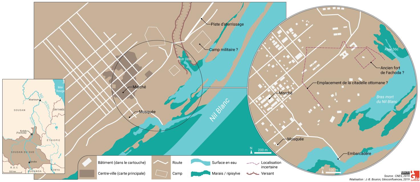 Carte de Fachoda aujourd'hui (Kodok, Soudan du Sud)